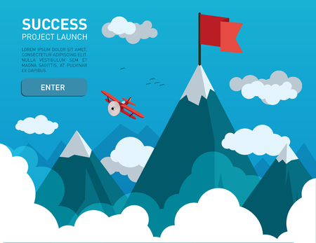 Ilustración plana con una bandera en la parte superior de la cima de la montaña símbolo de éxito, meta, los logros en la vida empresarial Ilustración de vector