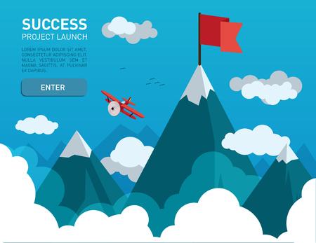 Platte illustratie met een vlag op de top van het bergtop symbool van succes, doel, prestaties in het bedrijfsleven