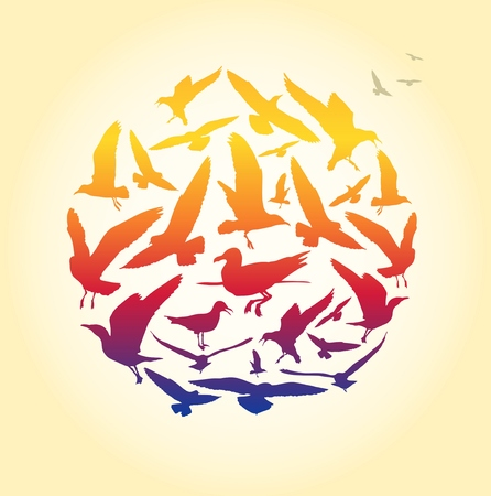 Seagull silhouettes in a circle composition for summer backgrounds and sea themes