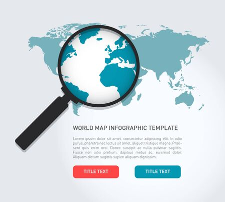 communication concept: Global search concept in flat style with a world map and a magnifying glass