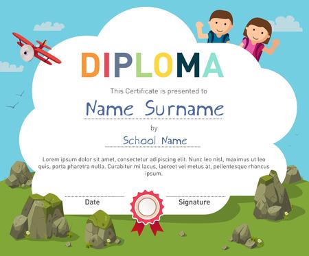 childrends preschoolDiploma certificate background design template