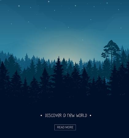coniferous forest: Coníferas silueta del bosque de fondo con nightime estrellas y rayos de la puesta de sol Vectores