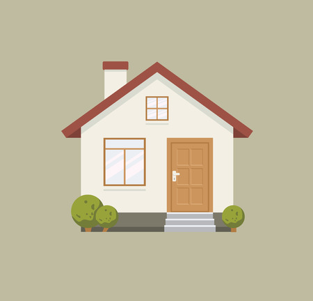 Flat style illustration of a house, a residential building with simple elements