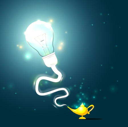 Illustration of a magical lightbulb coming out from a lamp