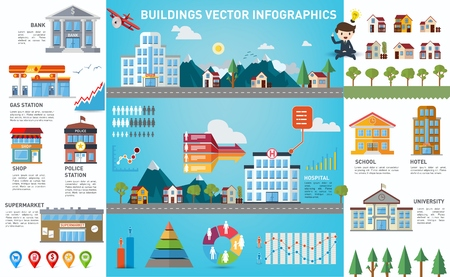 Urban buildings collection infographics template with charts and diagrams