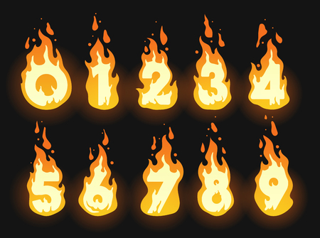 Set of burning fiery numbers for hot offers, discounts and global warming or summer themes Illustration