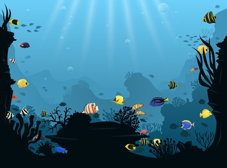 Underwater landscape with various swimming tropical fish.