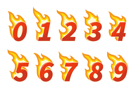 Collection of red burning fiery numbers vector illustration Illustration