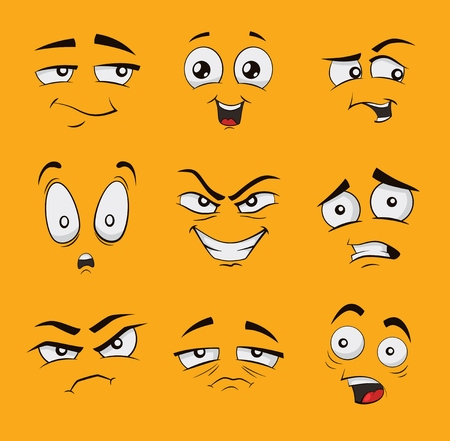 Set of funny cartoon faces with different emotions, like angry, scared happy or glad