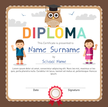 Colorful children diploma template, certificate of preschool or elementary school accomplishments.