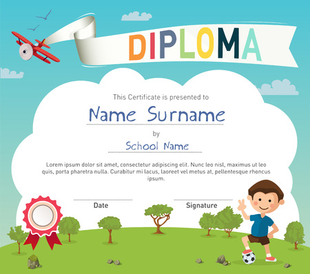 Colorful kids summer camp diploma certificate template in cartoon style with boy and a soccer ball.