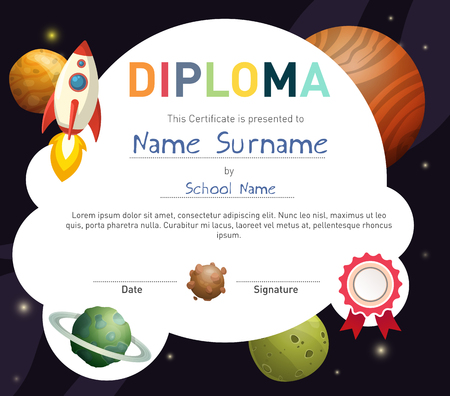Science themed children diploma certificate template with rocket and cute planets. Illustration
