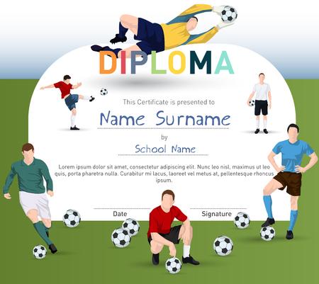 Certificato a tema a calcio con illustrazioni del calciatore e modello di diploma di palloni da calcio. Archivio Fotografico - 76592579