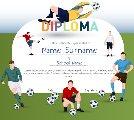 name badge: Football themed certifiate with soccer player illustrations and soccer balls diploma template. Illustration