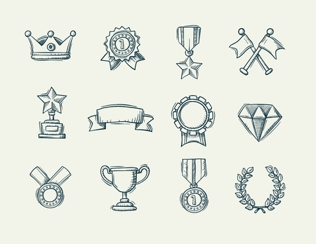 Award doodle icons set of trophy and medal icons, handdrawn vector illustration.
