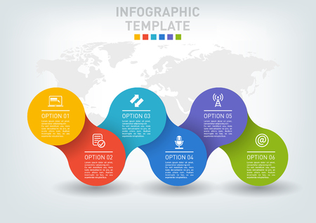 A Vector illustration of a flat infographics timeline of five options.