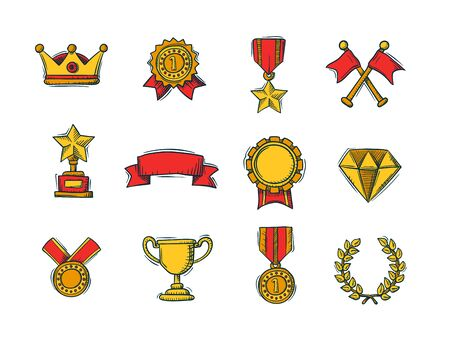 Set of winners color handdrawn icons - goblet, medal and wreath, race flags and belt and sertificate. Vector Illustration. Illustration