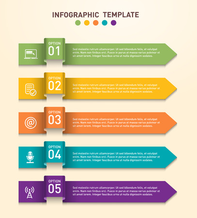 info: Arrows for business infographics. Vector banner with 5 options. Used in brochures or flyers and diagrams or presentation templates.