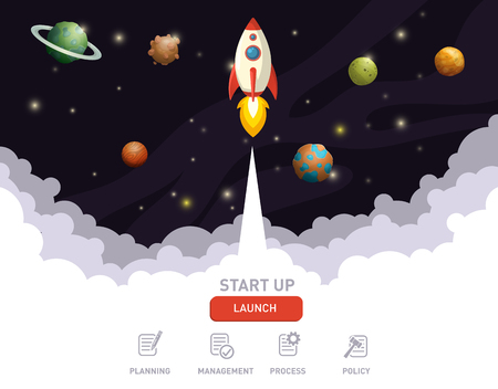 Illustration of rocket flying above clouds into space, business startup banner concept, flat style illustration Ilustrace