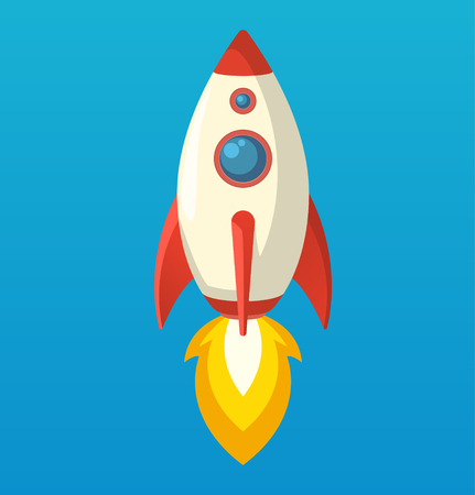 Flat isometric space symbol rocket ship icon, startup concept project development, vector illustration