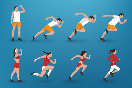 Set of different athlete man and woman silhouettes running, jogging or sprinting