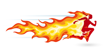 Concept of a running person in flames and fire symbol of energy, health, power and healthy lifestyle