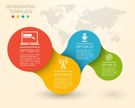 step by step infographic element on connected circles, charts, 4 options diagram, vector template for workflow business presentation