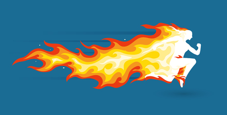 Running person silhouette in burning flames. Illustration