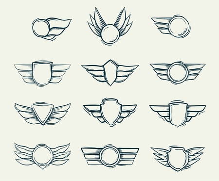Collection of hand drawn doodled shield military emblems vector illustration.