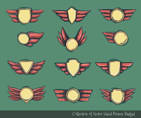 Set of champions award doodled badges Illustration