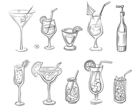 hand drawn set of cocktails and alcoholic drinks in bottles and glasses.