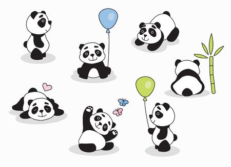 Personnage de bande dessinée Panda dans diverses expressions pour invitations, fêtes et surprises