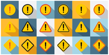 Set of caution icons in circle, triangle and square shape.