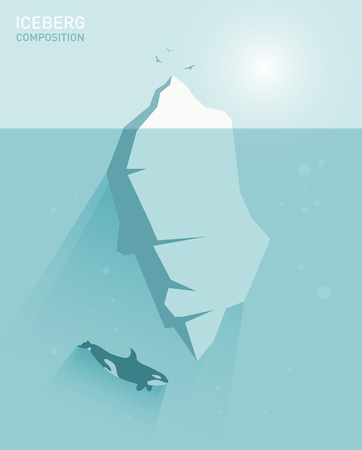 Iceberg concept illustration in flat style with a whale and birds