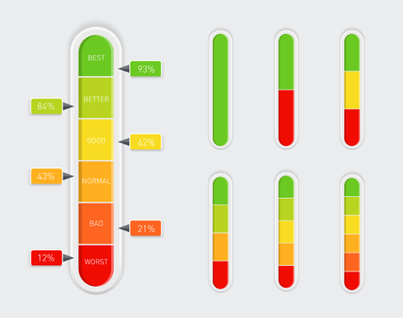 Color coded progress, vertical level indicator with percentage units. Vector illustration