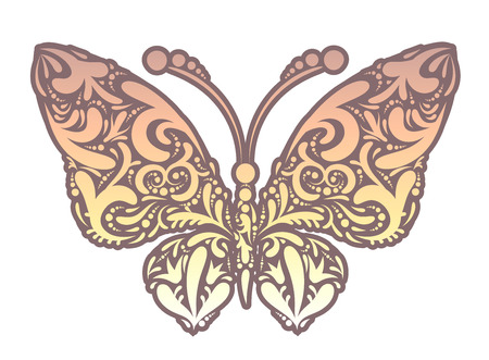 Vector illustration of abstract butterfly ornament symbol with vintage curls