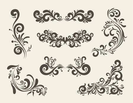 Swirly line curl pattern vector flourish vintage embellishments for greeting cards. Collection of frame decoration illustration