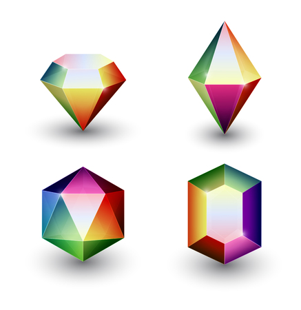 Set of four different gemstone crystal icons