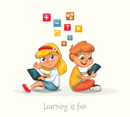 Illustration of a boy and a girl sitting with a laptop and tablet learning. Educational vector about the fun in study