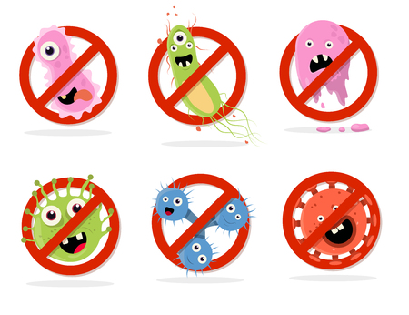 Stop bacteria cartoon vector illustration. No bacteria sign with cute cartoon germ in flat style design isolated. Red alert circle symbol for antibacterial products. Stop virus warning sign. Illustration