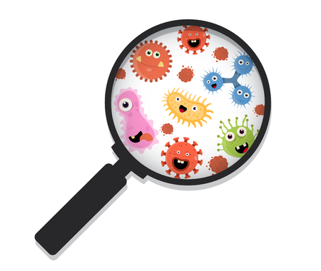 Cartoon bacteria under a magnifying glass vector illustration. Zooming in on viruses.