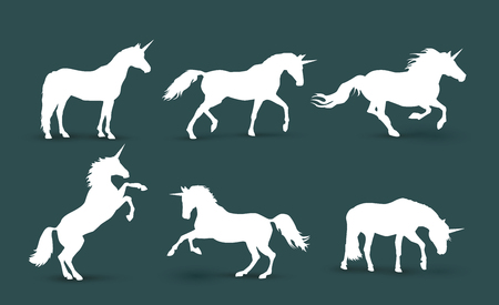 Magical creatures silhouettes vector illustration, outline, isolated different unicorn body collection Ilustrace