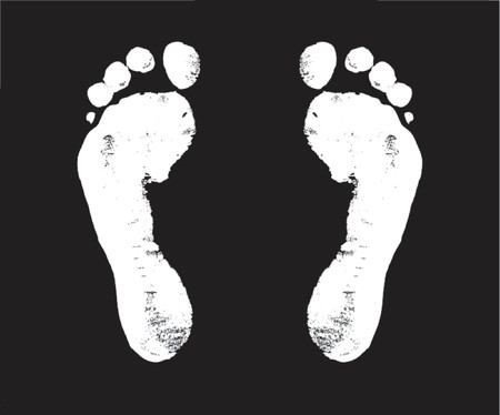 walker: footprint, steps, way, walker, walk, voyage, vector, white,