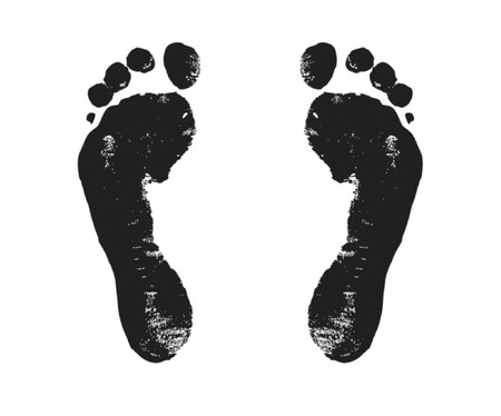 walker: footprint, steps, way, walker, walk, voyage, vector, black, Illustration