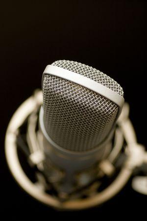 shure: microphone on dark background Stock Photo