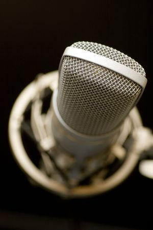 shure: microphone on dark background Stock Photo