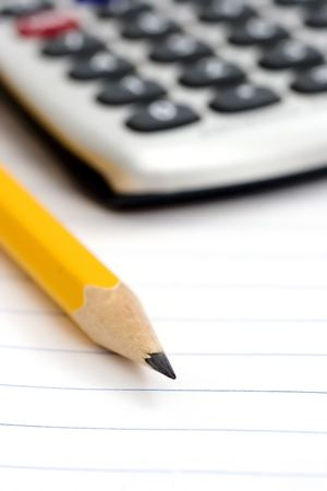 pen on notebook and calculator Stock Photo - 802233