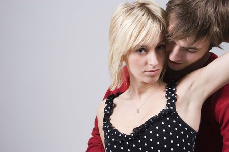 passionately: Young couple hugging passionately Stock Photo