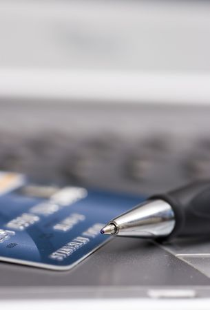 credit card, pen and computer, background Stock Photo