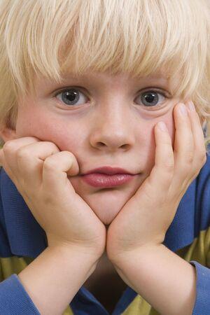 blonde close up: cute little boy portrait Stock Photo